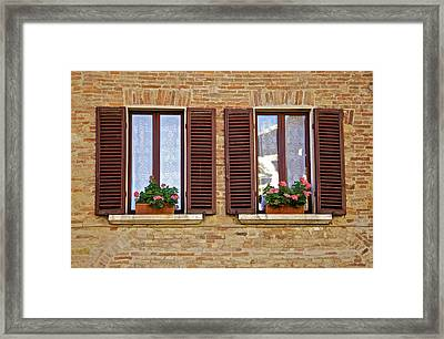 Dueling Windows Of Tuscany Framed Print