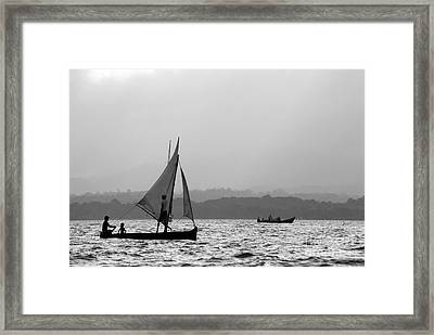 Dugout Sailing Canoes In The Caribbean Framed Print by James Brunker