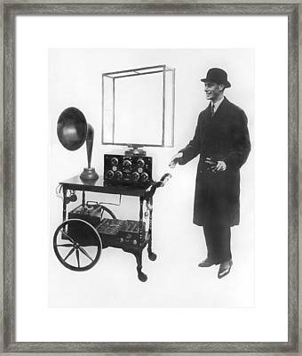 Duke & Duchess Portable Radio Framed Print by Underwood Archives