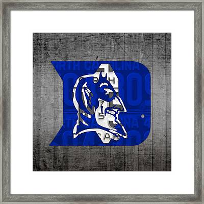 Duke Blue Devils College Sports Team Retro Vintage Recycled North Carolina License Plate Art Framed Print by Design Turnpike