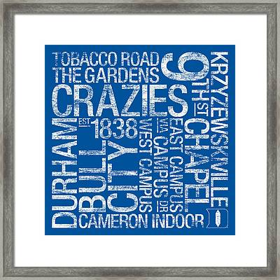 Duke College Colors Subway Art Framed Print by Replay Photos