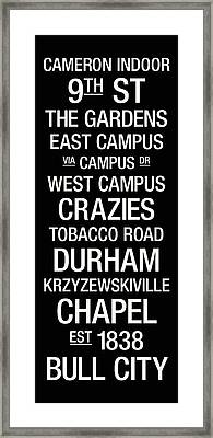 Duke College Town Wall Art Framed Print by Replay Photos