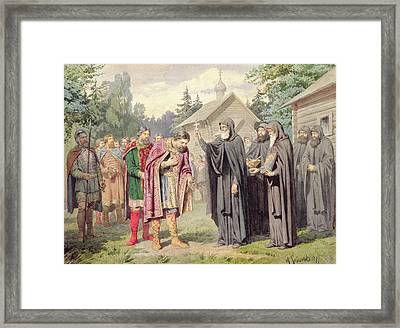 Duke Dimitry And St. Sergy At Redonezh Before Battle With Tartars, 1880 Wc On Paper Framed Print