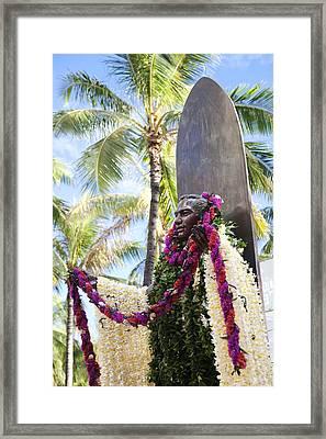 Duke Kahanamoku Covered In Leis Framed Print by Brandon Tabiolo