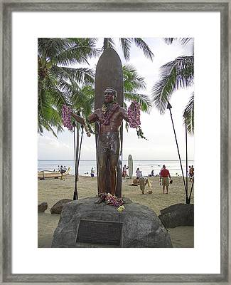 Duke Kahanamoku Of Hawaii Framed Print by Daniel Hagerman