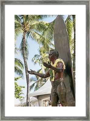 Duke Kahanamoku Statue Framed Print by Brandon Tabiolo