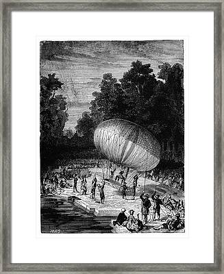 Duke Of Chartres Balloon Flight Framed Print by Science Photo Library