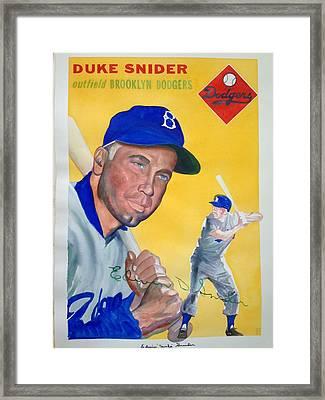 Duke Snider Framed Print by Robert  Myers
