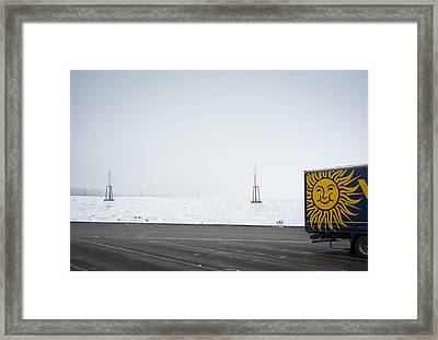 Dull And Grey Winter Day But The Sun Is Smiling Framed Print