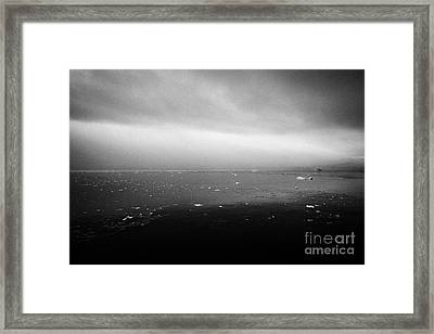 dull overcast misty day in Fournier Bay on Anvers Island Antarctica Framed Print by Joe Fox