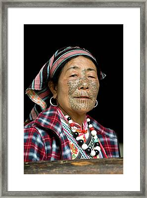 Dulong Woman With Facial Tattoos Framed Print by Tony Camacho