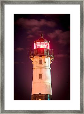Framed Print featuring the photograph Duluth North Breakwater Lighthouse by Mark David Zahn Photography