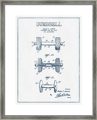 Dumbbell Patent Drawing From 1935  -  Blue Ink Framed Print by Aged Pixel