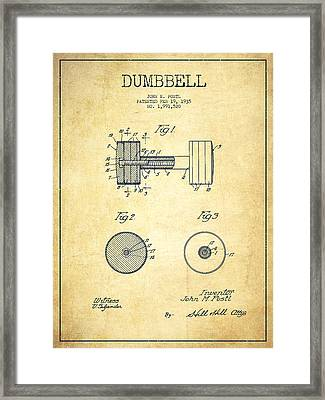 Dumbbell Patent Drawing From 1935 -vintage Framed Print by Aged Pixel