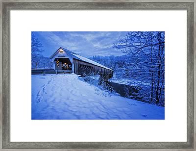 Dummerston Bridge In Winter Framed Print by Tom Singleton