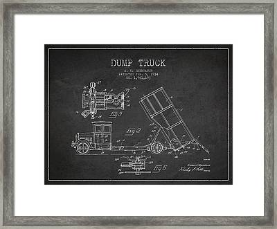 Dump Truck Patent Drawing From 1934 Framed Print by Aged Pixel