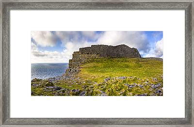Dun Aengus - Iron Age Ruins Coastal Panorama Framed Print by Mark E Tisdale