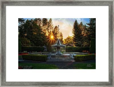 Duncan Gardens Water Fountain Framed Print by Dan Quam