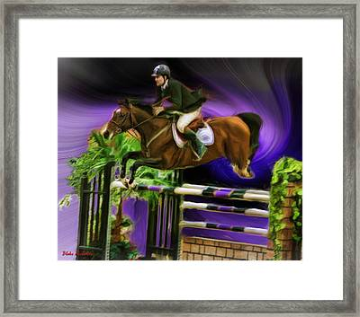 Duncan Mcfarlane On Horse Mr Whoopy Framed Print