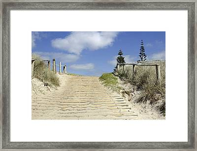 Dune Boardwalk Framed Print by Les Cunliffe