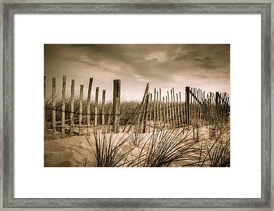 Dune Fence Framed Print by Brian Caldwell