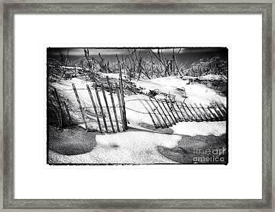 Dune In Winter Framed Print by John Rizzuto