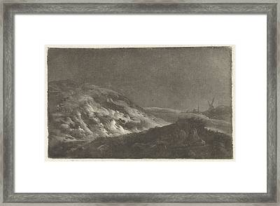 Dune Landscape With A Church Tower In The Background Framed Print by Arnout Rentinck