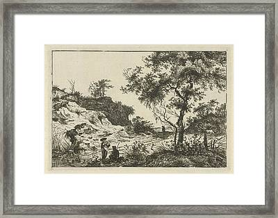Dune Landscape With A Large Tree, A Woman At A Pool Framed Print by Hermanus Fock