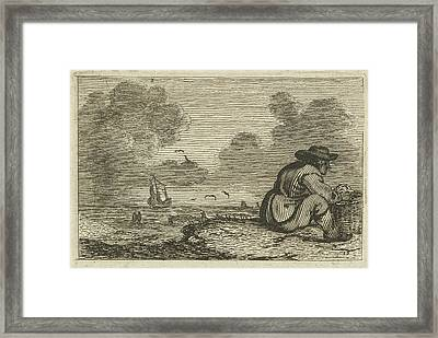 Dune Landscape With A Man Sitting In A Basket Framed Print by Gillis Van Scheyndel (i) And Jan Porcellis