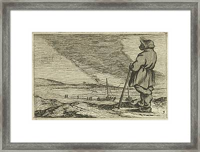 Dune Landscape With A Man Who Overlooks The Sea Framed Print by Gillis Van Scheyndel (i) And Jan Porcellis