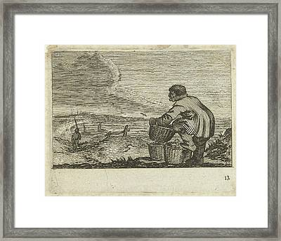 Dune Landscape With A Man With Three Baskets Framed Print by Gillis Van Scheyndel (i) And Jan Porcellis