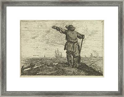 Dune Landscape With A Waving Man Leaning On A Shovel Framed Print by Gillis Van Scheyndel (i) And Jan Porcellis
