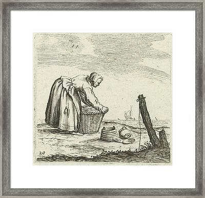 Dune Landscape With A Woman Bent Over A Basket Framed Print by Gillis Van Scheyndel (i) And Jan Porcellis