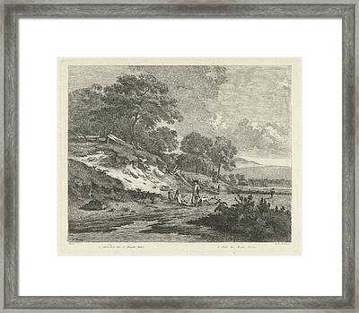 Dune Landscape With Resting Hunters Framed Print by F.w. Musculus And Pierre Fouquet (jr.) And Basan