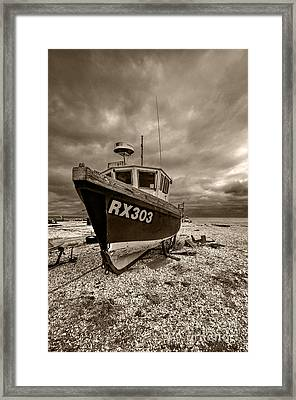 Dungeness Boat Under Stormy Skies Framed Print
