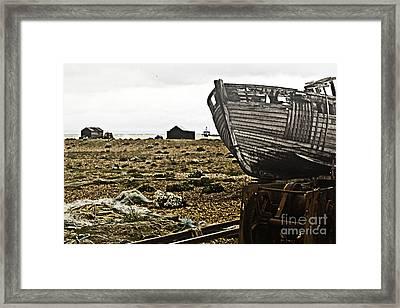 Dungeness Landscape Framed Print by Lesley Rigg