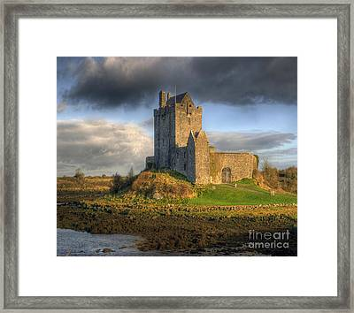 Dunguaire Castle With Dramatic Sky Kinvara Galway Ireland Framed Print by Juli Scalzi
