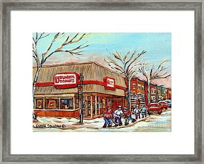 Dunkin Donuts Rue Wellington Verdun Montreal  Paintings Hockey Art Winter Street Scenes Cspandau  Framed Print by Carole Spandau