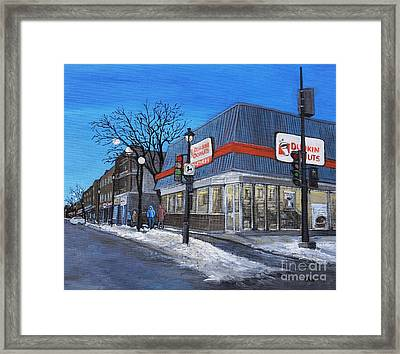 Dunkin Donuts Wellington Street Verdun Framed Print by Reb Frost