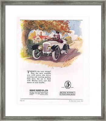 Dunlop 1919 1910s Uk Cars Tyres Framed Print by The Advertising Archives