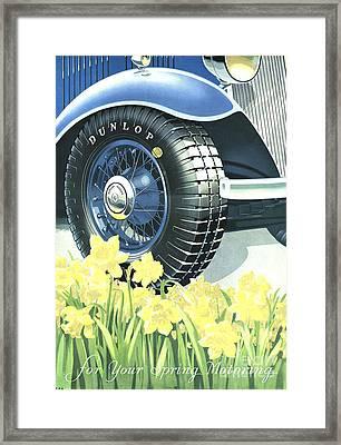 Dunlop 1934 1930s Uk Tyres Daffodils Framed Print