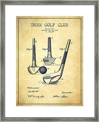 Dunn Golf Club Patent Drawing From 1900 - Vintage Framed Print