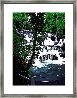 Dunns River Falls Jamaica Framed Print by MOTORVATE STUDIO Colin Tresadern