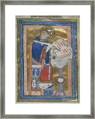 Dunstan Writes Benedictine Rule Framed Print by British Library