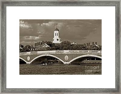 Weeks Bridge Charles River Bw Framed Print