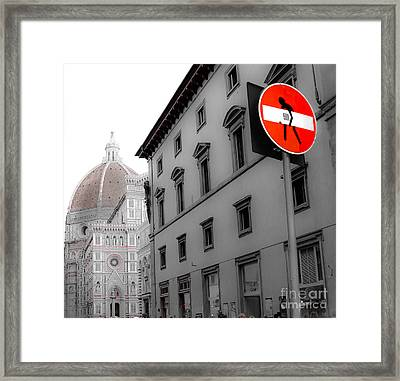 Duomo And Street Humor Framed Print