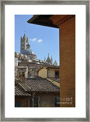 Duomo Cathedral And Red Tiled Roofs Framed Print by Sami Sarkis