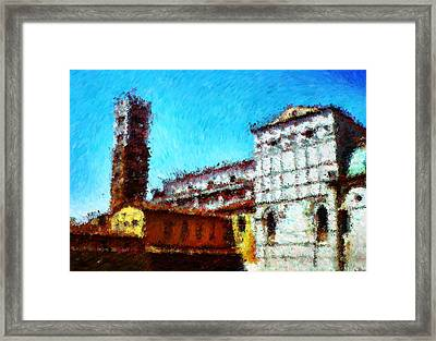 Duomo Di Lucca And It Was Hot Hot Hot_impressionist Digital Painting Framed Print by Asbjorn Lonvig