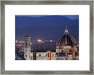 Framed Print featuring the photograph Duomo At Night Florence Italy by Sally Ross