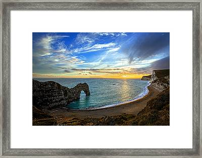 Durdle Door Sunset Framed Print by Ian Good